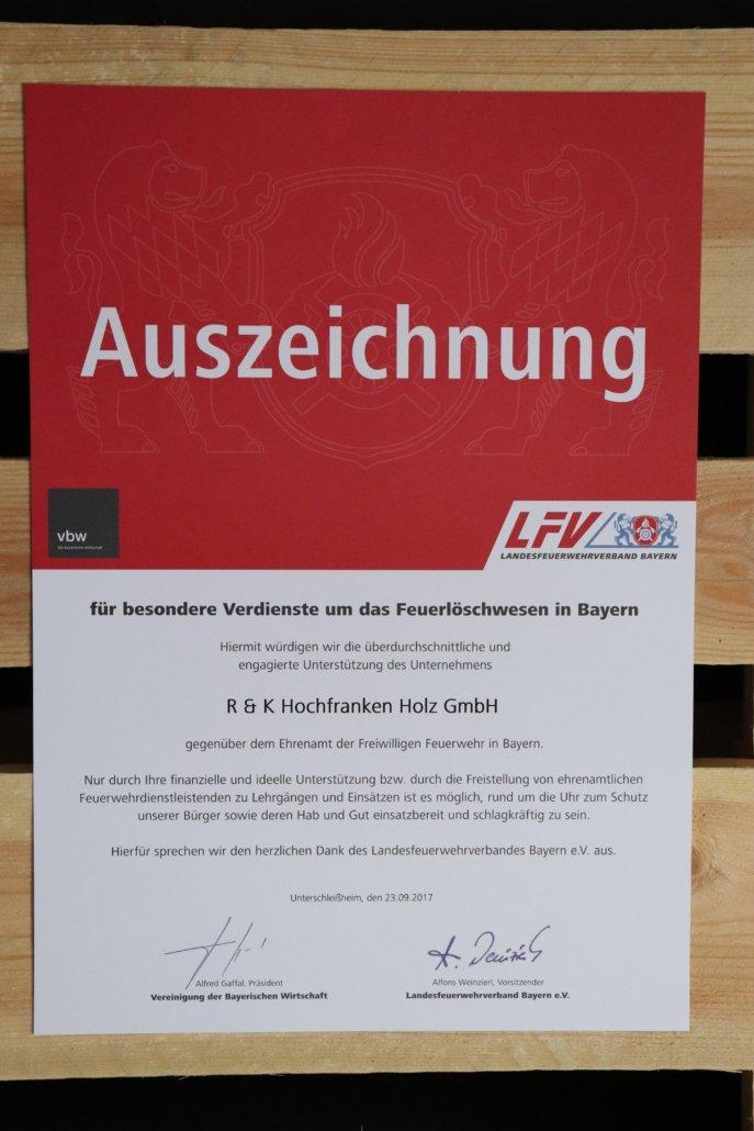Auszeichnung vom Landesfeuerwehrverband Bayern e.V. 2